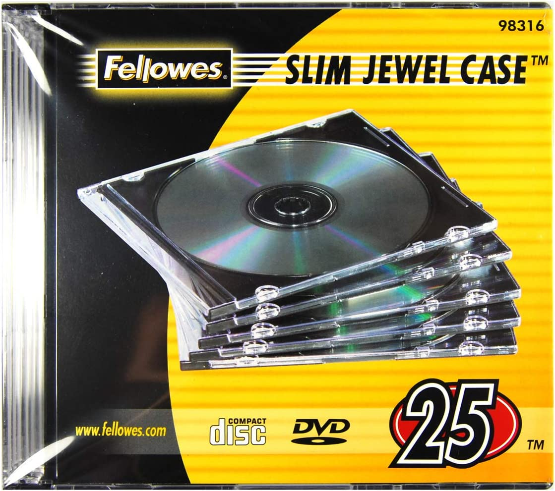 Fellowes 98316 NEATO Slim Jewel Cases, Clear, 25-Pack, Black