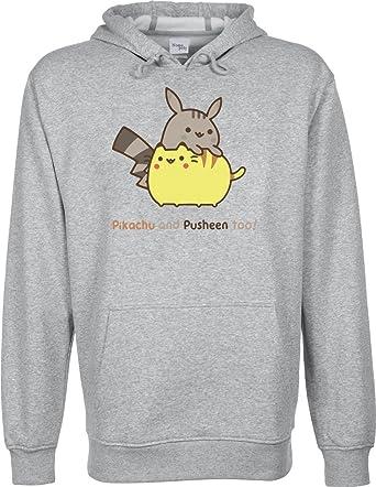 Nomopoly Pikachu y Pusheen también. Funny Cute con Capucha Sudadera Unisex Gris Gris Extra-Large: Amazon.es: Ropa y accesorios