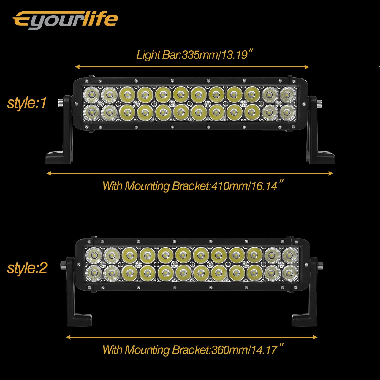 Eyourlife 14 Inch Led Light Bar72w 4300lm Spot Flood 52quot 300w Cree 100led Driving Bar Work Fog Lightswiring Harness Combo Beam Truck Off Road For 4x4 Atv Suv Jeep Pickup Boatblack