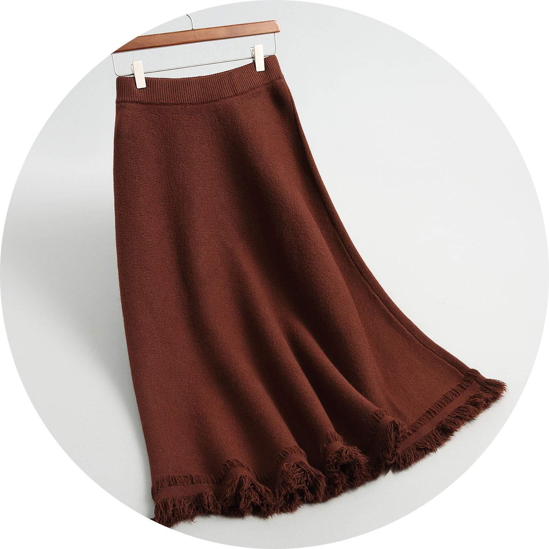 Burgundy 2018 Women Skirts High Waist ALine Spring Long Skirte Saia Women Winter Skirt Midi