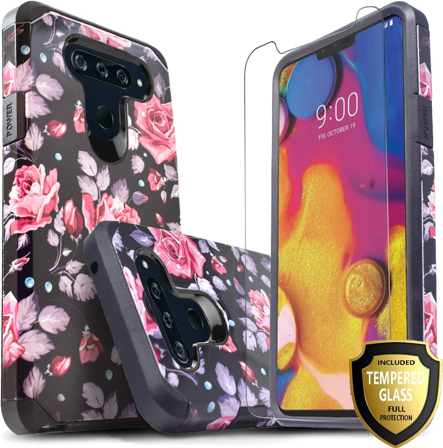 LG V40 ThinQ Case, With [Full Cover Tempered Glass Screen Protector], Shock Absorption Drop Protection Dual Layers Impact Advanced Rugged Protective Phone Cover Compatible LG V40/V40 ThinQ-Pink Rose