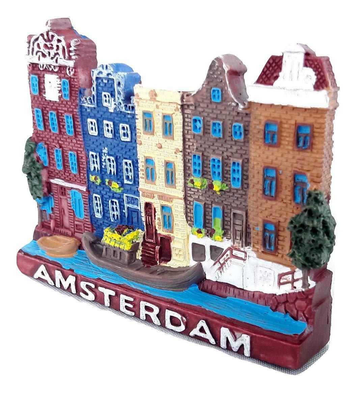 Souvenir Fridge Magnet Dutch Netherlands Holland 3D Amsterdam building & canal