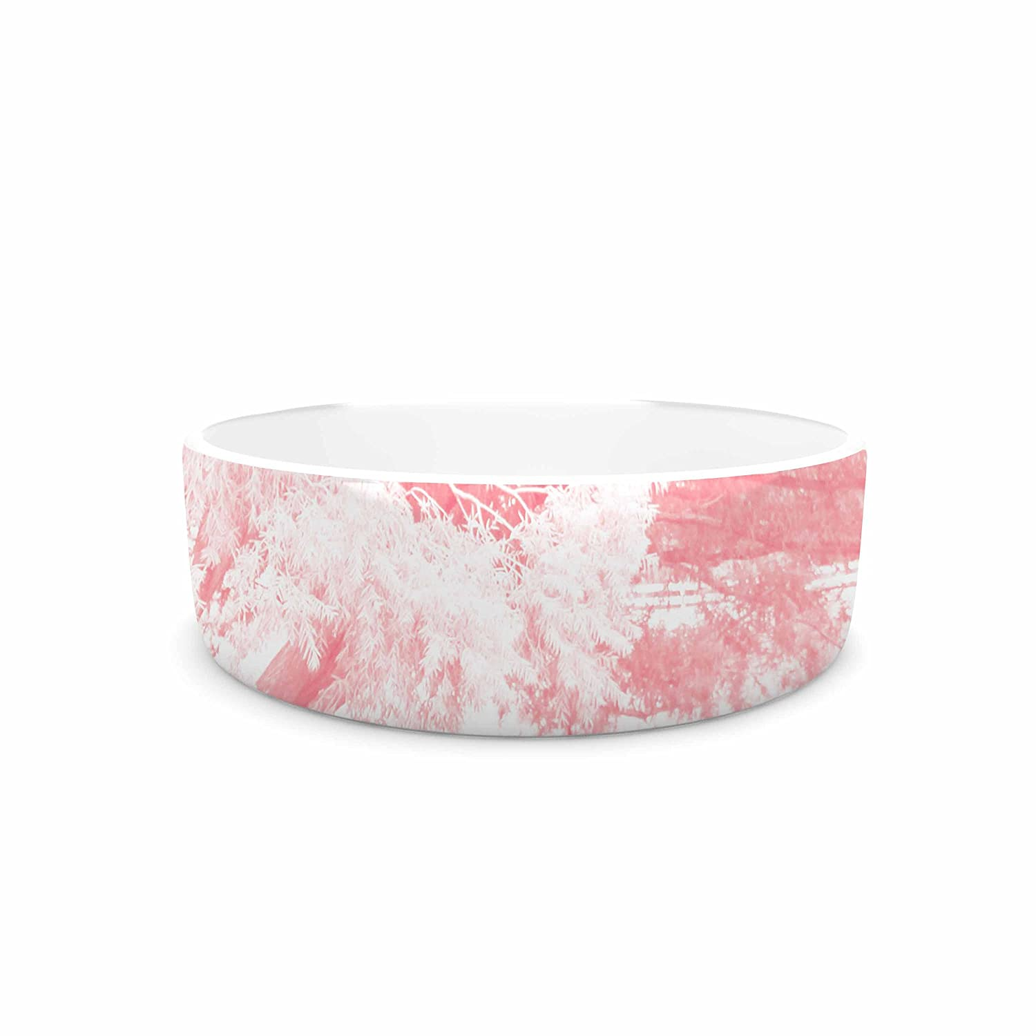 KESS InHouse Sylvia Coomes Pink Frost  White Photography Pet Bowl, 7
