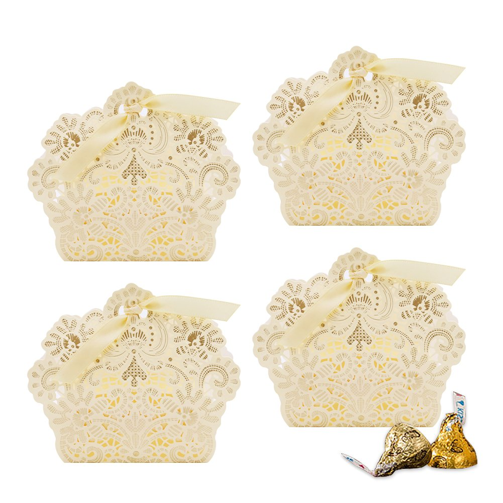 VGOODALL 100pcs Wedding Party Favor Boxes,Lace Candy Boxes Laser Cut Boxes Cajitas para Dulces for Wedding Bridal Shower Baby Shower Birthday Party(Gold) by VGOODALL