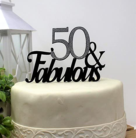 50 Th Birthday Cupcake Decorations 50s Party Decor 8quot Tall Cake Topper Fabulous Glitter