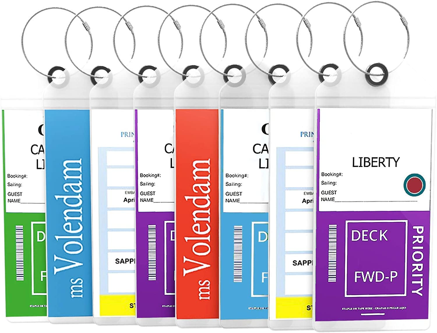 | Cruise Luggage Tags Etag Holders Zip Seal & Steel Loops Thick PVC (8 Pack - Clear) | Luggage Tags