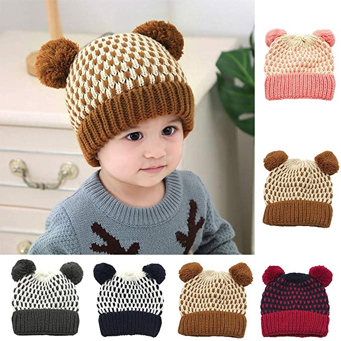 Outtop(TM) Baby Knitted Headband for Kids Boys Girls Winter Warm Cotton Ball Cap