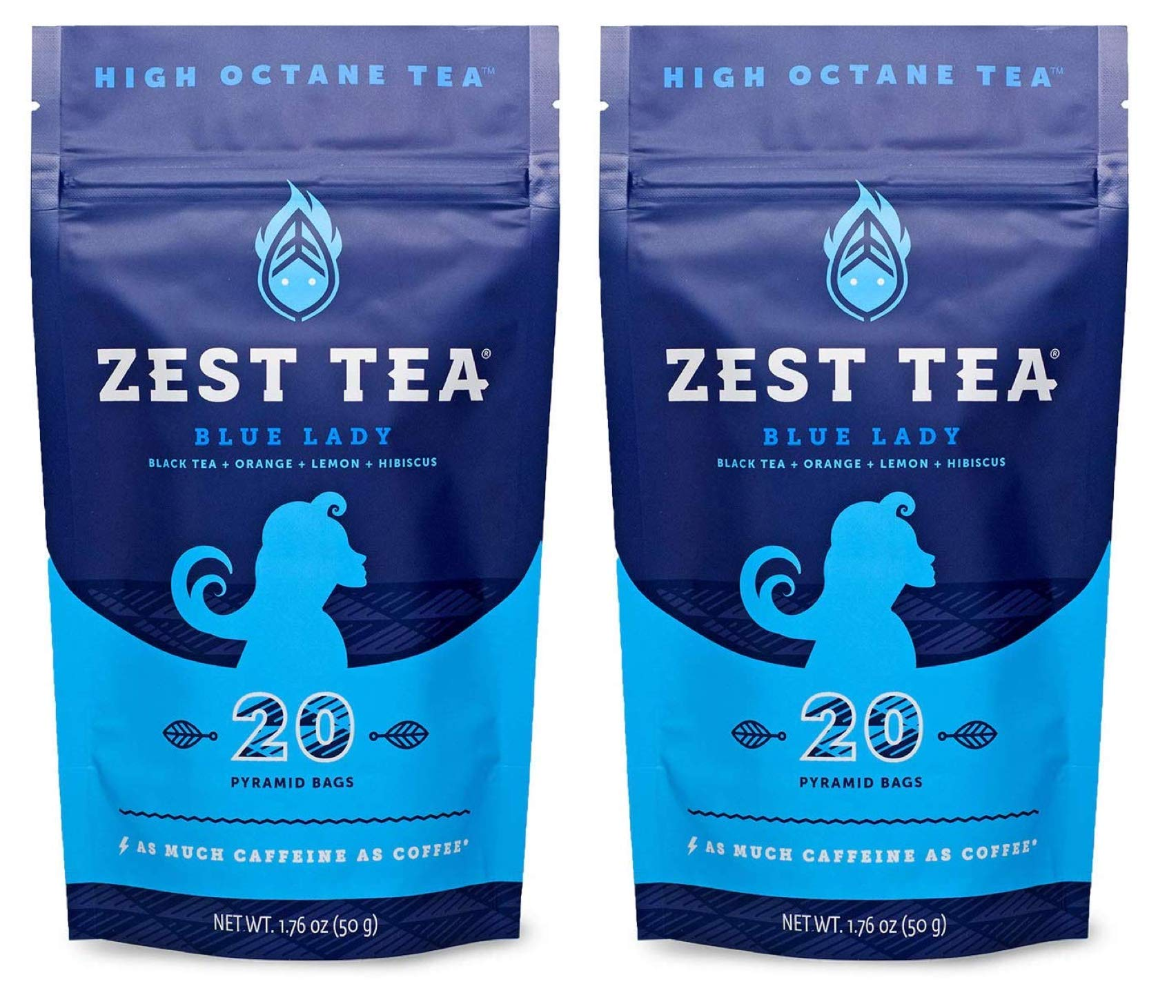 Zest Tea Energy Hot Tea, High Caffeine Blend Natural & Healthy Black Coffee Substitute, Perfect for Keto, 150 mg Caffeine per Serving, Blue Lady Black Tea, 40 Sachets (2 Pouches)