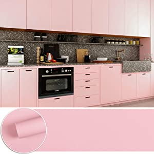 CHICHOME Thickened Pink Contact Paper Peel and Stick for Countertops Self Adhesive Removable Waterproof Vinyl Wallpaper No Air Bubbles Bedroom Kids Living Room Furniture Renovation Decor 17.7