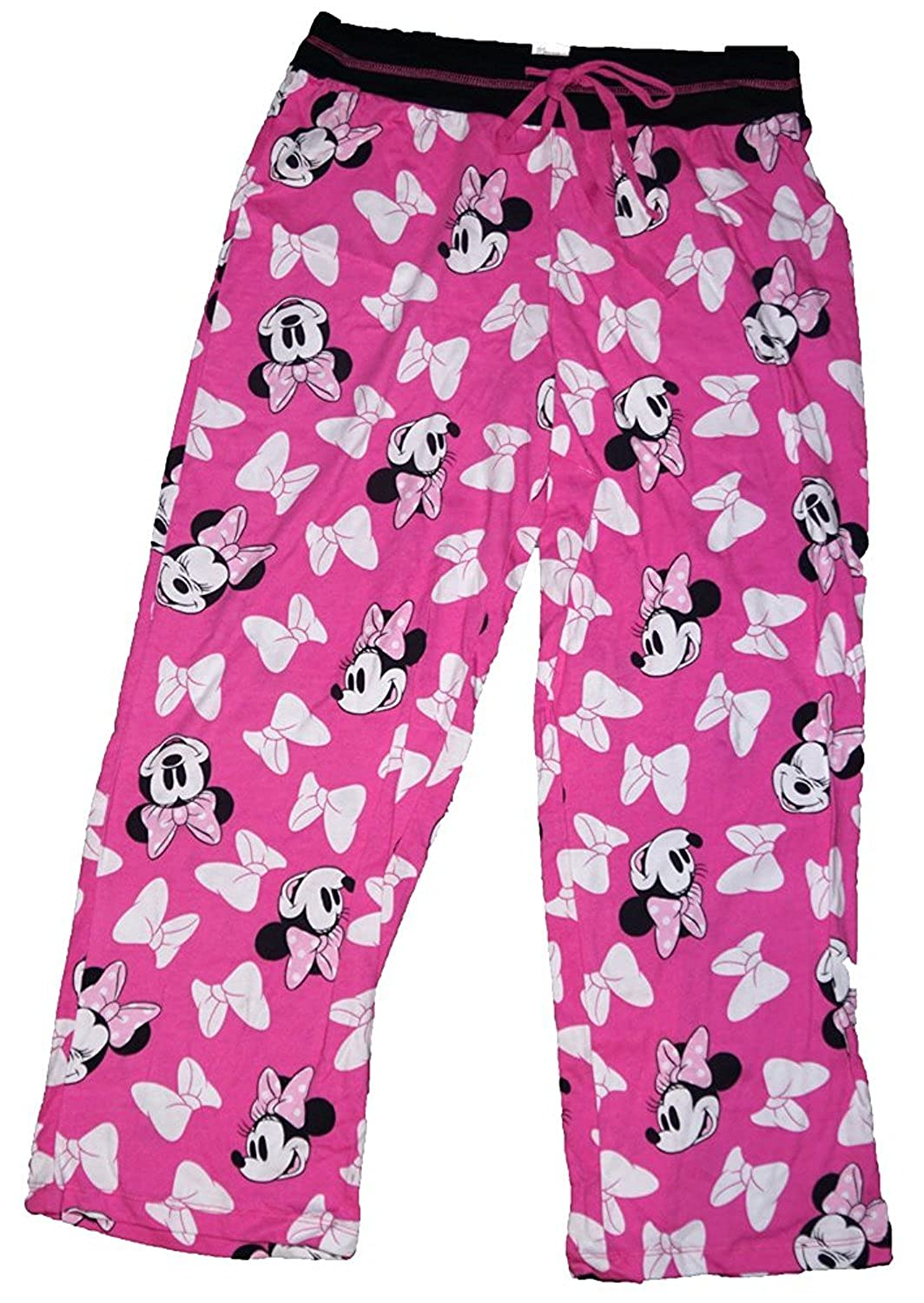 Disney Minnie Mouse Womens Pajama Pant with Minnie Face and Bow Print Pink