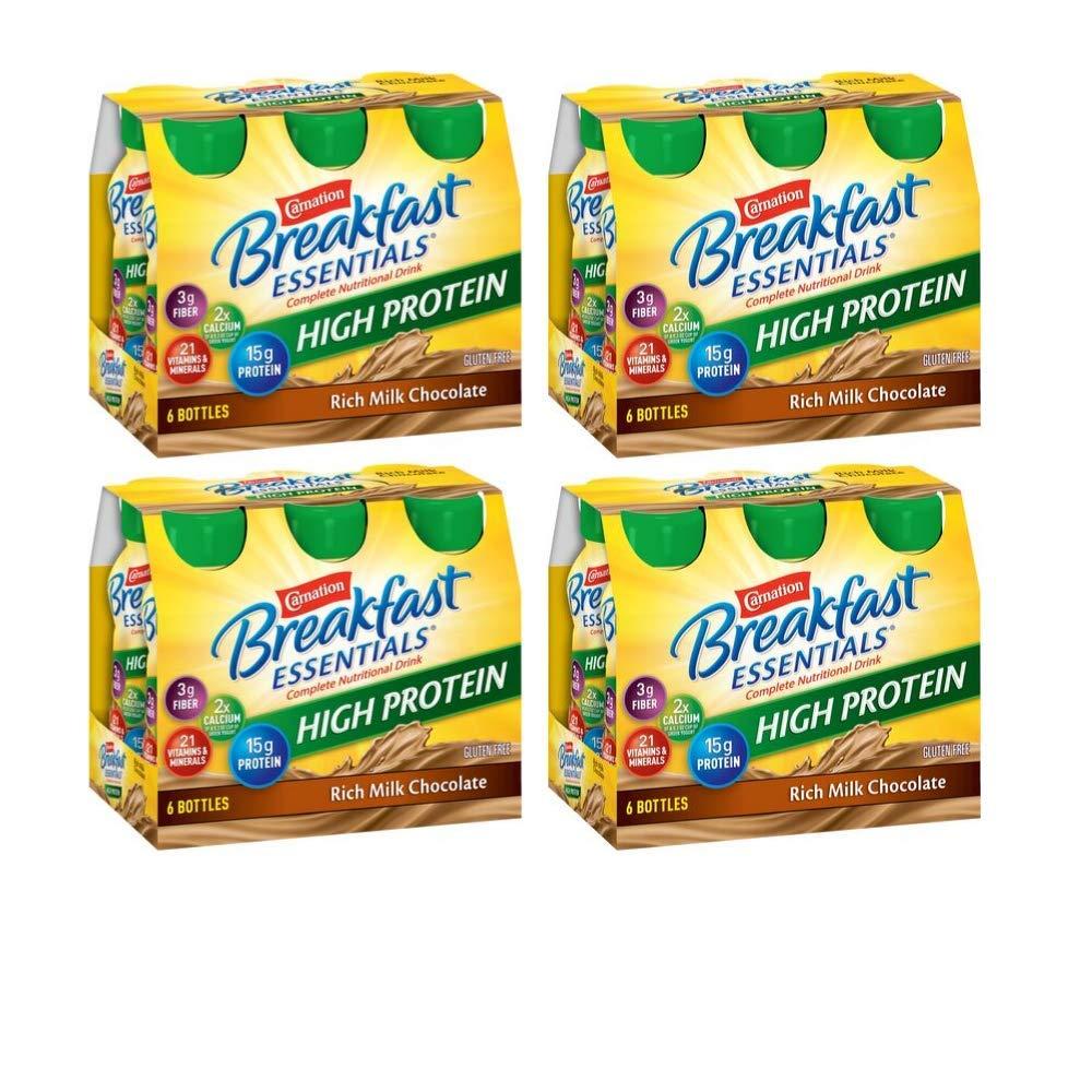 Carnation Breakfast Essentials High Protein, Rich Milk Chocolate, 8 fl. oz. Bottles, 6 Count - Pack of 4 by Carnation