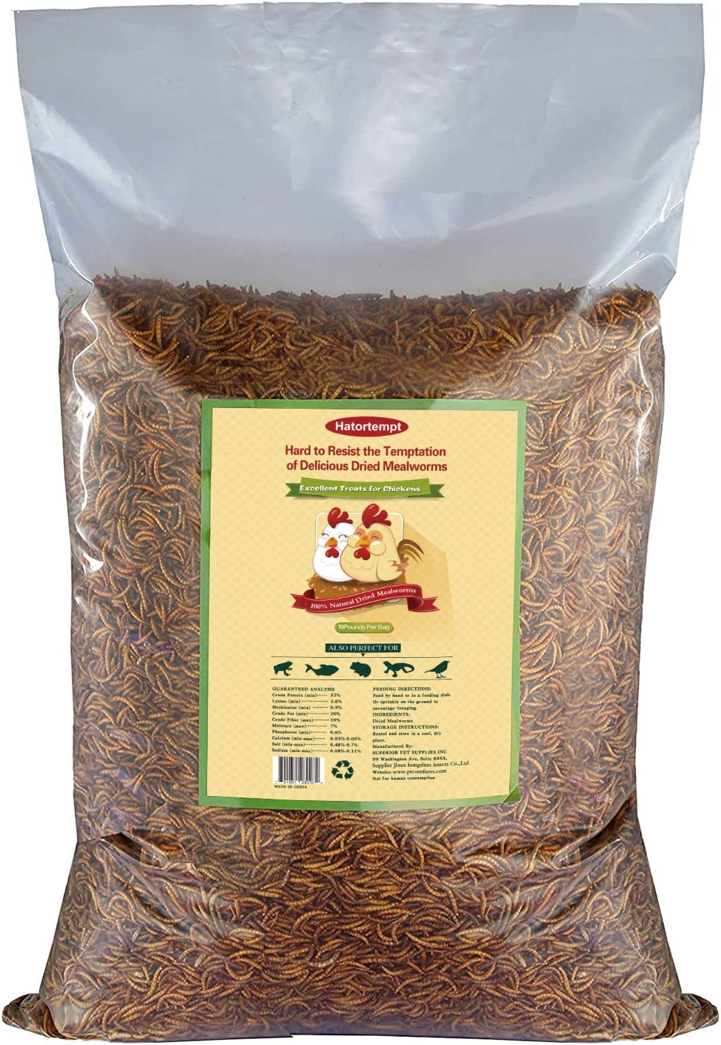 10lbs Bulk Non-GMO Dried Mealworms for Reptile, Tortoise ; Amphibian,Lizard ;Wild Birds; Chichens; Duck etc