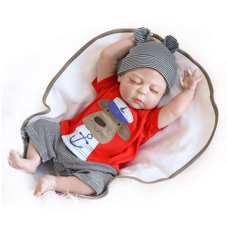 fe107a843667e Nicery Reborn Baby Doll Réincarné bébé Poupée Difficile Simulation Silicone  Vinyle 22 Pouces 55cm Bouche Qui Semble Vivant Imperméable Garçon Fille  Jouet ...