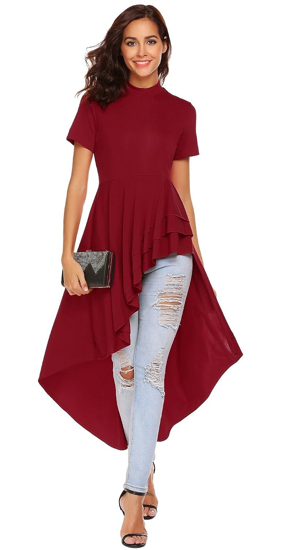 SimpleFun Womens Ruffle High Low Asymmetrical Short Sleeve Bodycon Tops Blouse Shirt Dress CCX00041