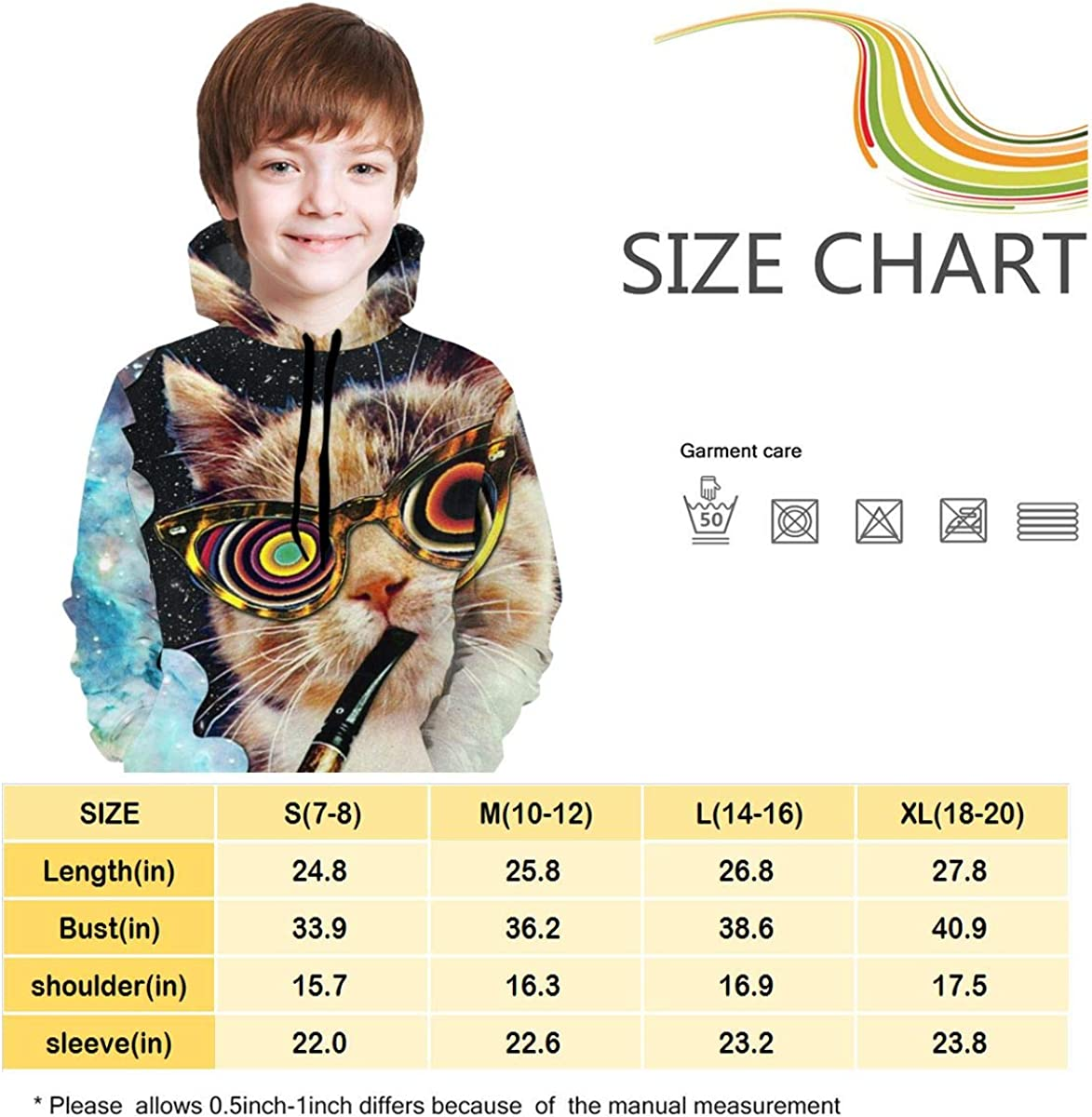 Trippy Cats Teens Hoody Sweater Pullover Drawstring Pocket Durable Sports Shirt for Kid