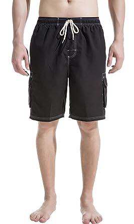 e7d52007be5e6 Akula Mens Long Swim Trunks with Cargo Pockets Bathing Suit Surf Trunks  Black Size S