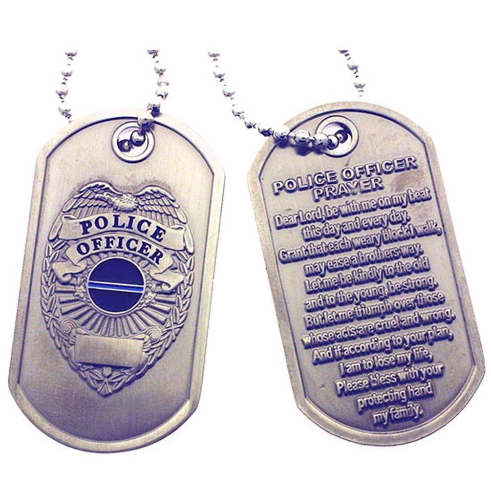 Police Officer Prayer Thin Blue Line Brushed Steel Dog Tag