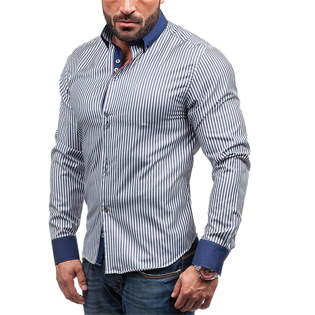 Autumn Winter Fashion Striped Printed Leisure Lapel Long Sleeved Shirt for Men