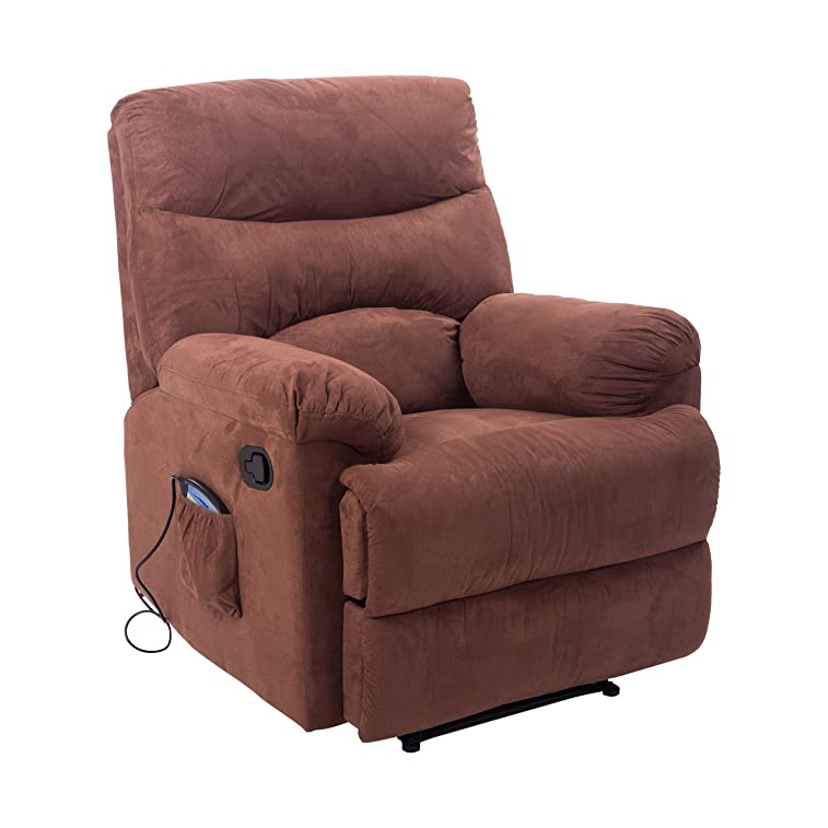 HomCom Heated Vibrating Suede Massage Living Room Recliner Chair with Remote - Brown