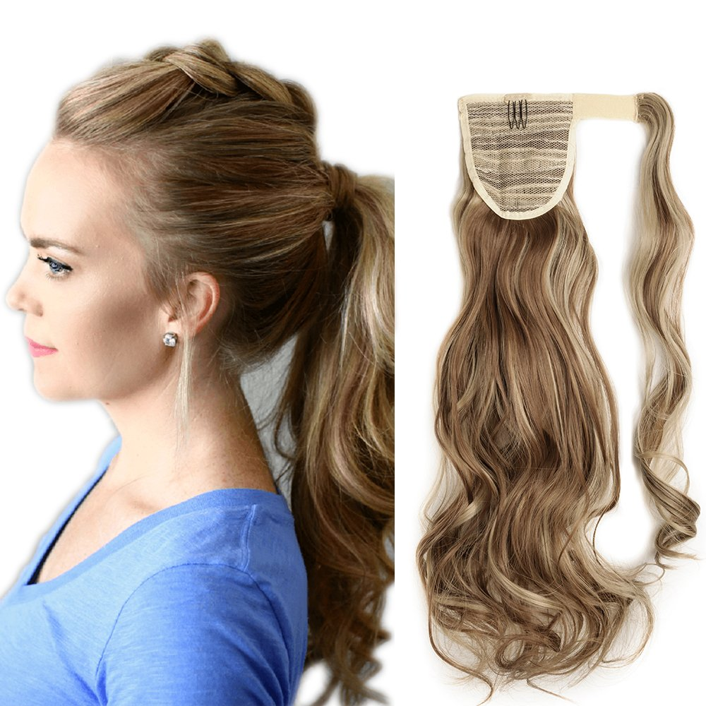 17(43cm) Coleta Postiza de Pelo Sintético Rizado con Clips Extensiones de Cabello Invisible y Natural Ponytail Hair Extension (90g, Castaño Caoba Claro) Lady Outlet Mall