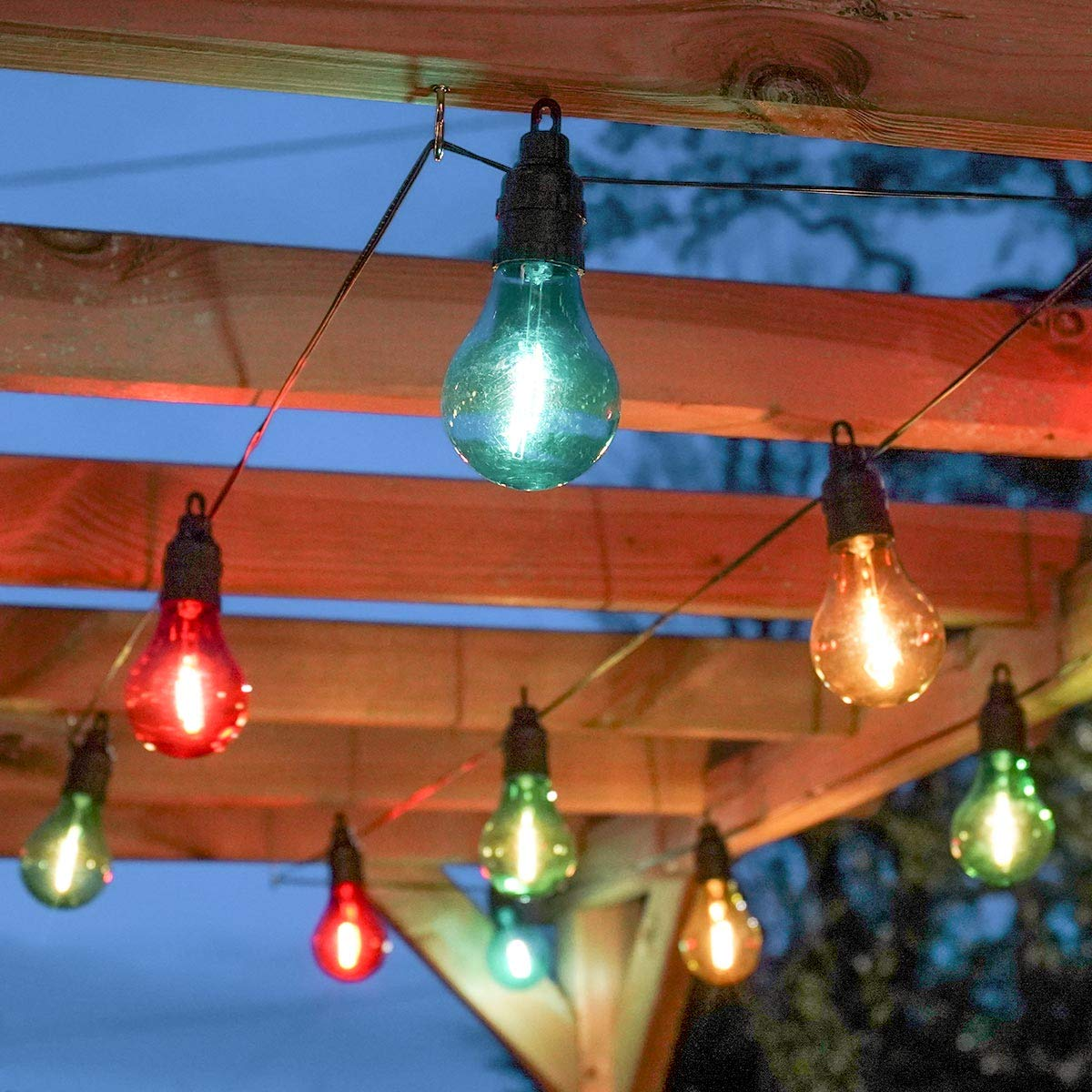 Decorative Lighting 4.5m Lit Length Timer Battery Powered LED Filament Bulb Outdoor Festoon Party Lights Multicolour