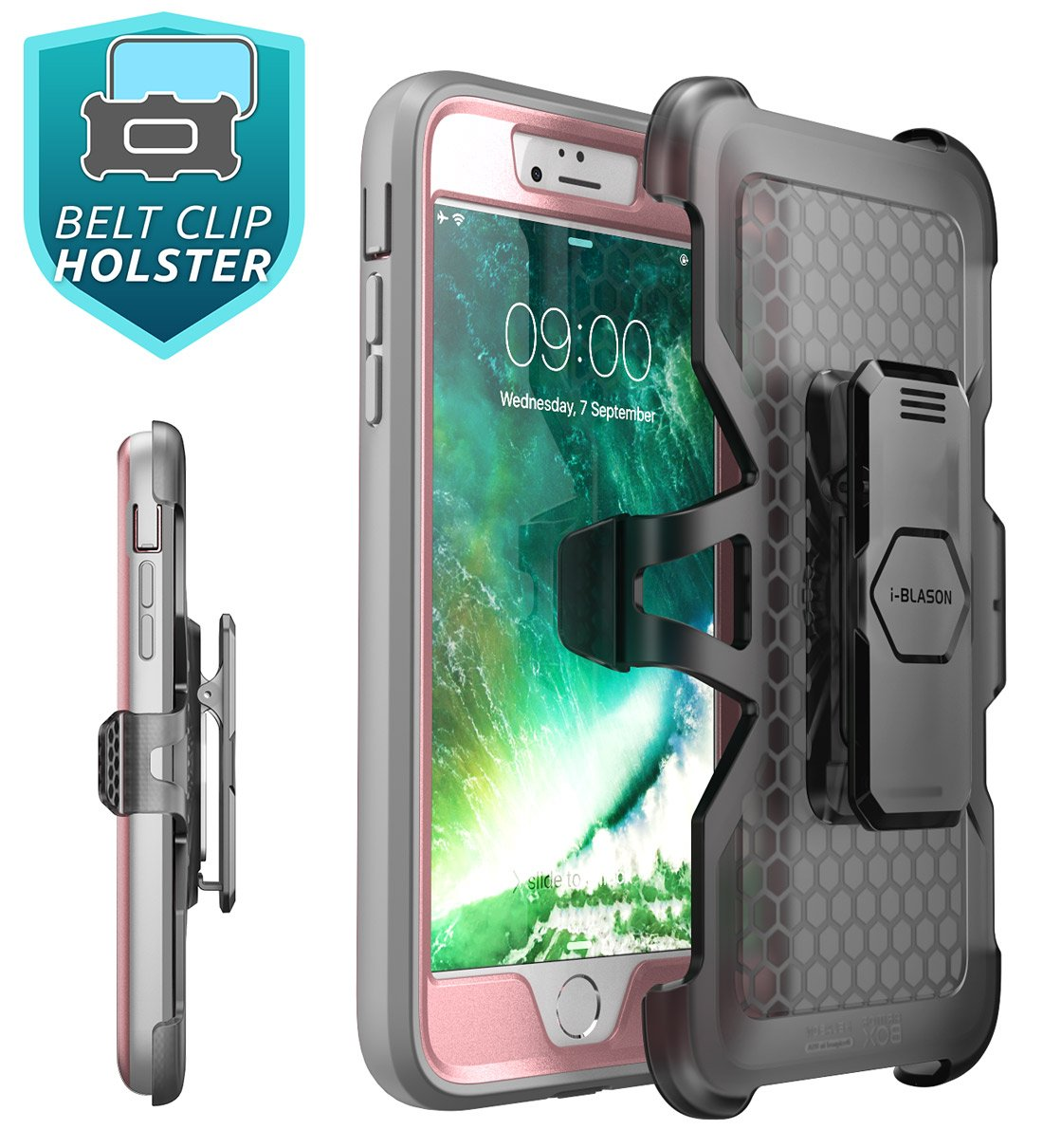 iPhone 8 Plus Case, iPhone 7 Plus case, i-Blason [Heavy Duty Protection] [Magma Series] Shock Reduction/Full body Bumper Case with Built-in Screen Protector for iPhone 8 Plus 2017 (Pink) by i-Blason (Image #5)