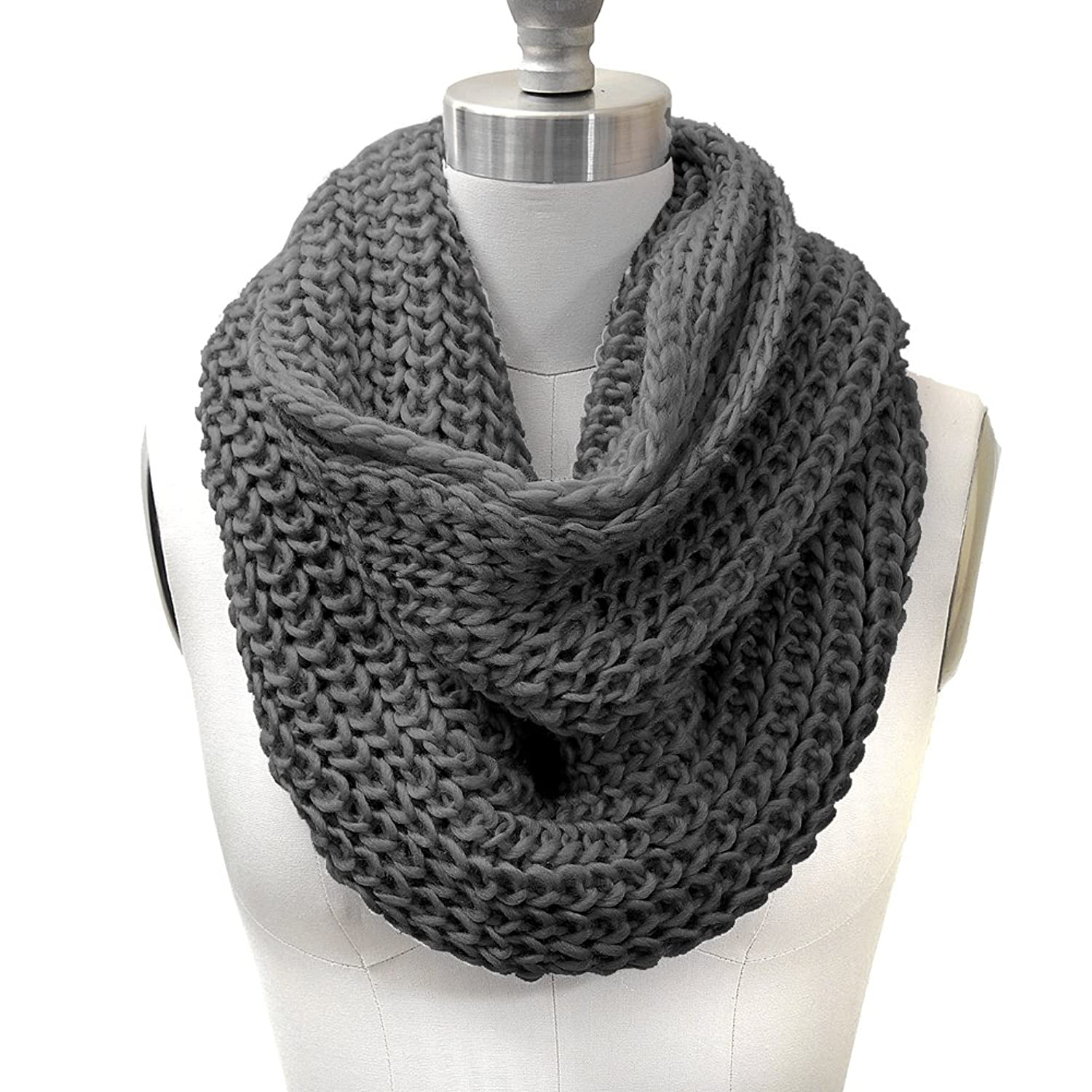 HUE21 Women\'s Chunky Knit Infinity Scarf and Beanie Hat Set Grey ...