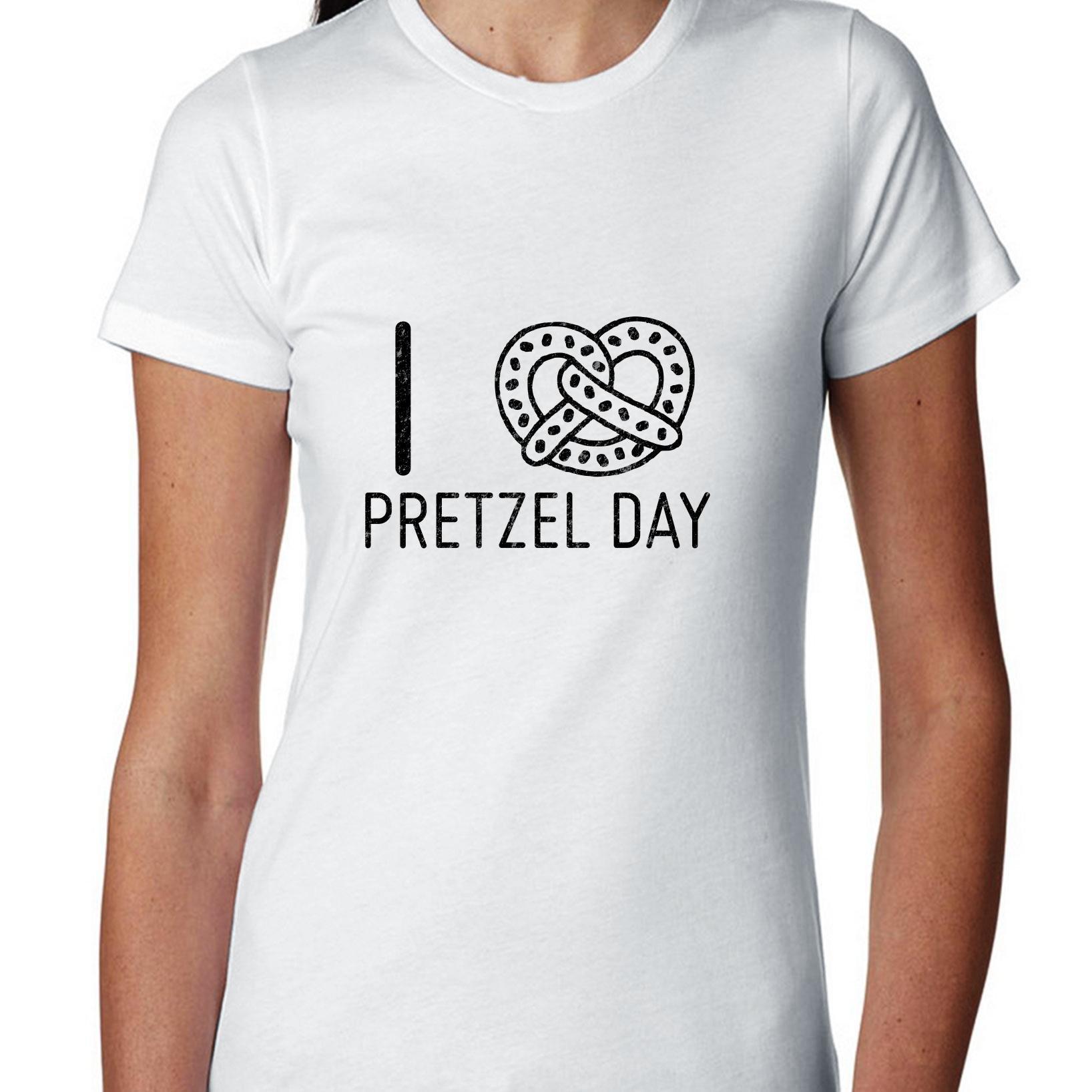Hollywood Thread I Love Pretzel Day With Cool Pretzel Graphic T Shirt 7176