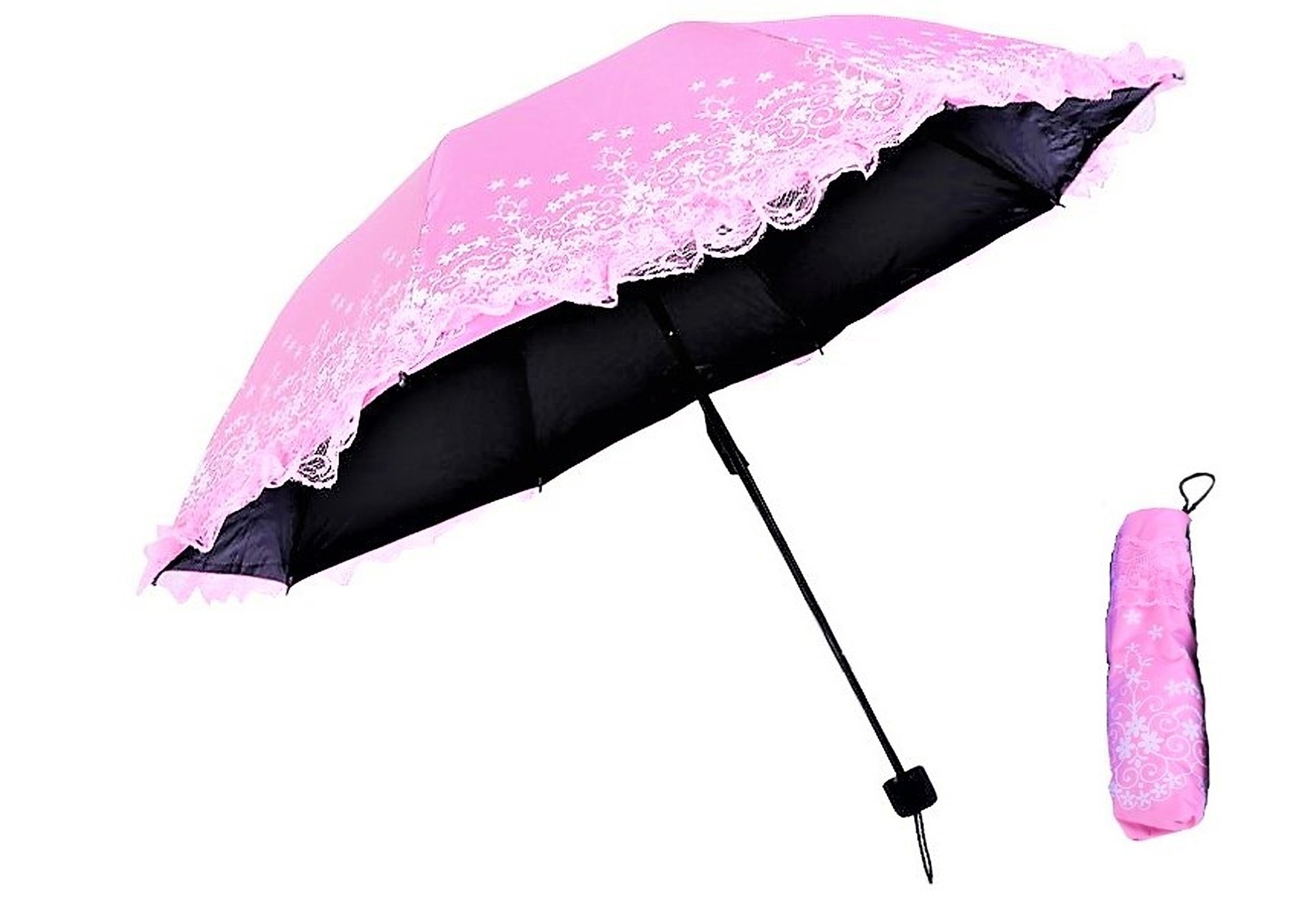 Compact Lightweight Anti-UV 3 Folding Umbrella for Women with Carry Bag [ 8 libs ] Kawaii Dressy Lace (Pink)