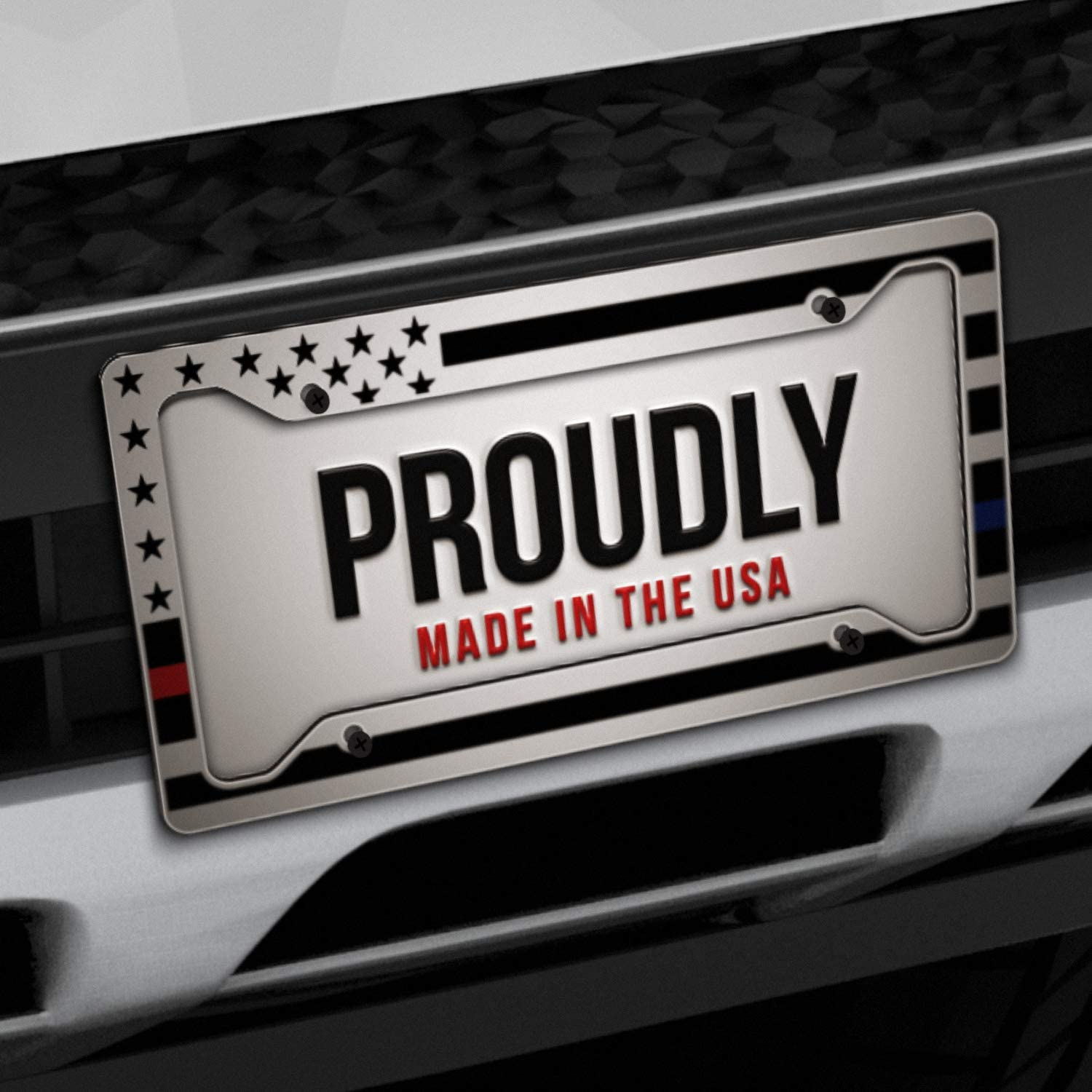 Alumina Car Licence Plate Decor Covers with 4 Holes DZGlobal Police/&Firefighter/&EMT Flag License Plate Frames