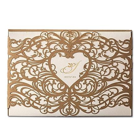 Wishmade 50x Oro Láser Corte Boda Conjuntos De Tarjetas De Invitaciones Con Corazón Hueco Favores Invitación Cartulina Para El Compromiso Nupcial
