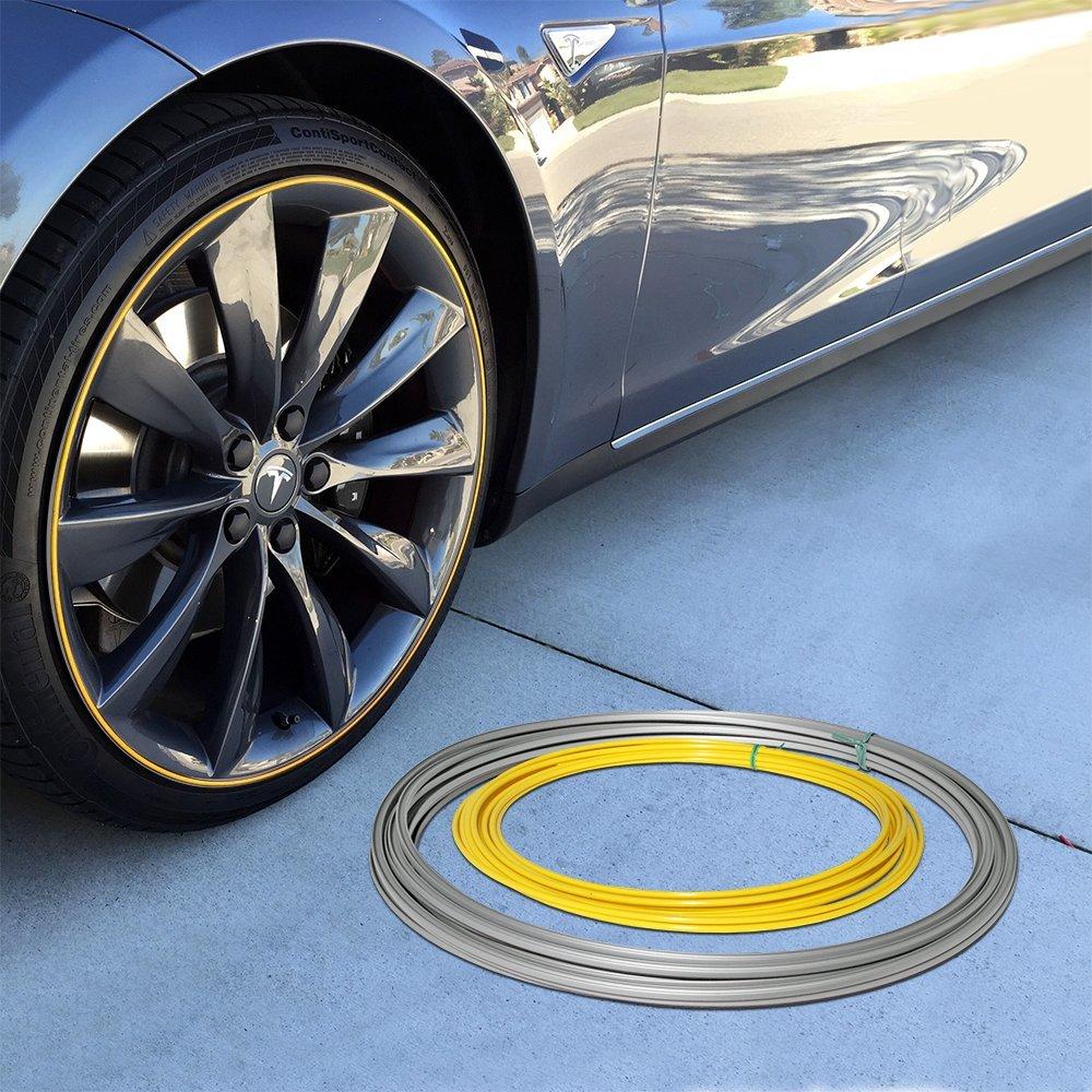 Wheel Bands Yellow Insert in Silver Track Pinstripe Rim Edge Trim UpgradeYourAuto