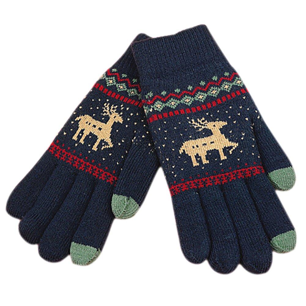 Mackur Gloves Winter Reindeer Pattern Gloves Women Men Full Finger Knit Touchscreen Gloves Outdoor Windproof Warm Gloves Pack of 1, Fabric, Black, 1 Pair