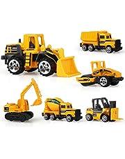 Coolplay Engineering Vehicles Dumper Truck, Bulldozers, Forklift, Tank Truck, Asphalt Car and Excavator for Kids - Pack of 6