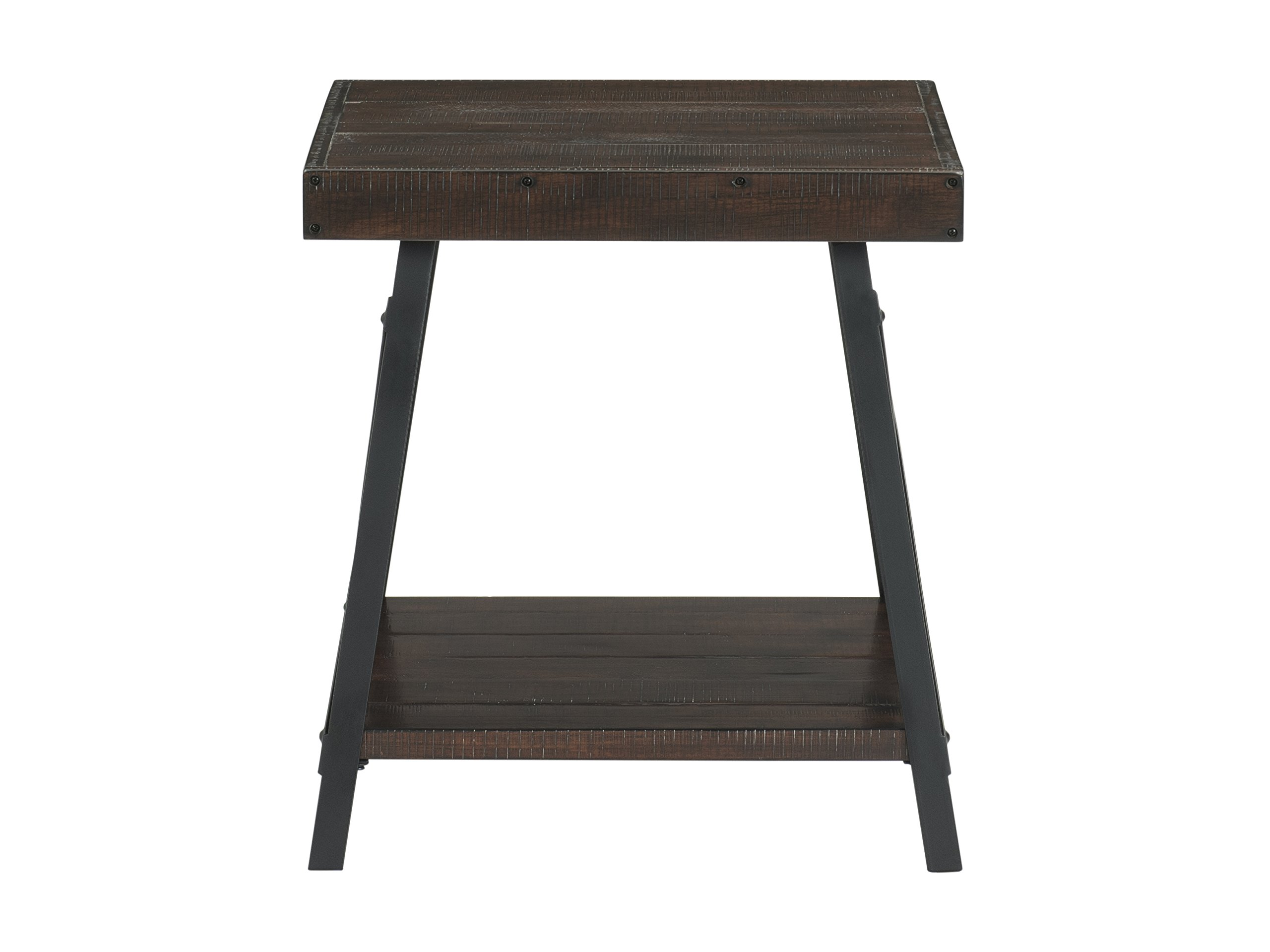 """Martin Svensson Home Xavier End Table, Sumatra - Finish: Sumatra - blend of a deep rich Coffee Finish with a slight amount of white pumice hang up Crafted from solid wood - New Zealand pine with rough hewn saw marks Exposed rivets across the Top and Black Steel metal """"x"""" cross on the end caps give it a distinct industrial and rustic look - living-room-furniture, living-room, end-tables - 71PqMPA2hhL -"""