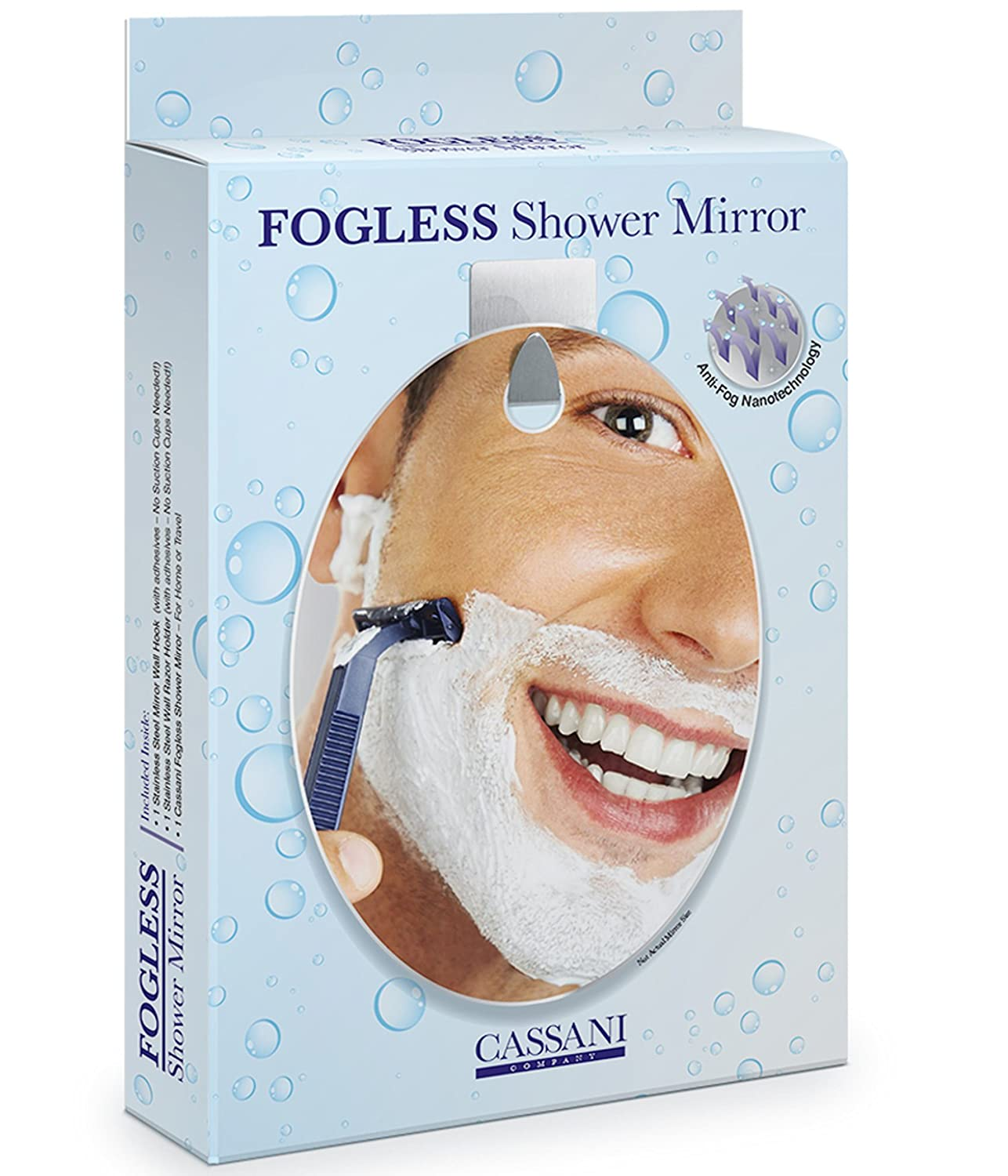 Fogless Shower Mirror - Guaranteed Fog Free - New Modern Facial Contour Design - No Suction Cups - Designed Not to Fall - Ultra-easy Set up - Includes Additional Razor Wall Mount Cassani Company