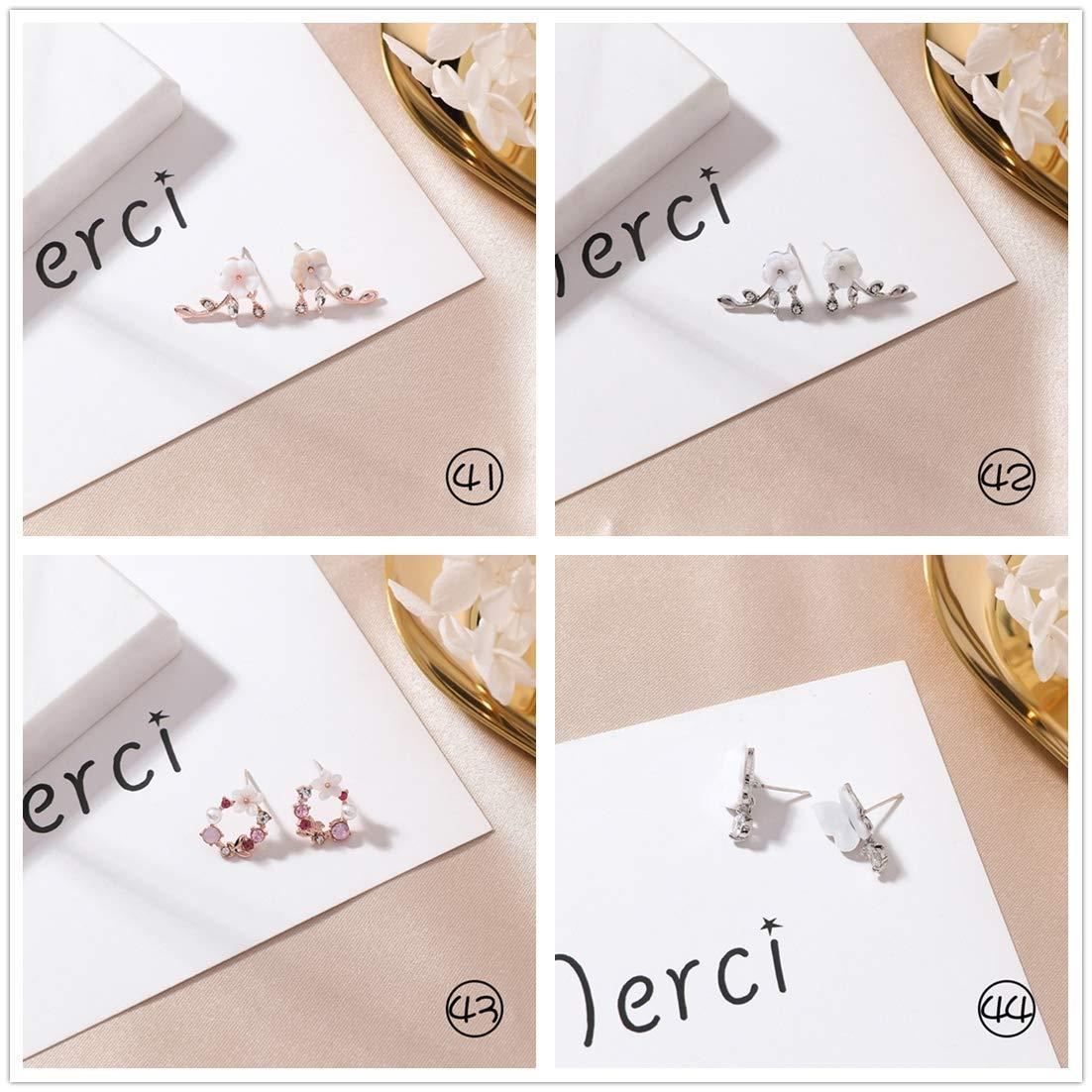 Shell Petals Geometric Round Metal Asymmetric Long Sweet Love Stud Earrings Women ZZEARTUNNE Handmade 9 Pairs Earrings Set
