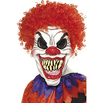 Careta arlequín malo Máscara payaso terrorífico Mascarilla completo clown asesino Complemento fiesta de terror Bufón de