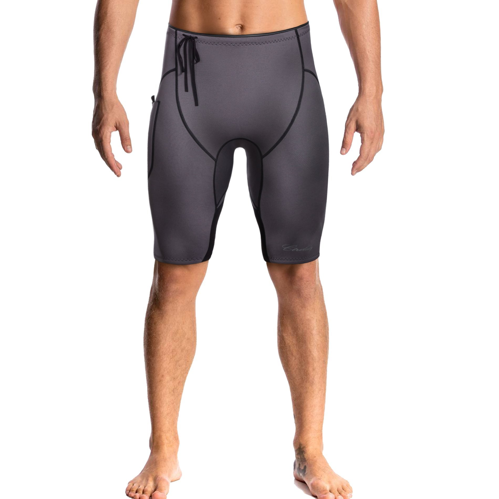 CtriLady 2mm Premium Neoprene Wetsuit Shorts Sweat Fitness Pants with Pocket for Snorkeling Surfing Swimming Training (Grey+Black, L) by CtriLady