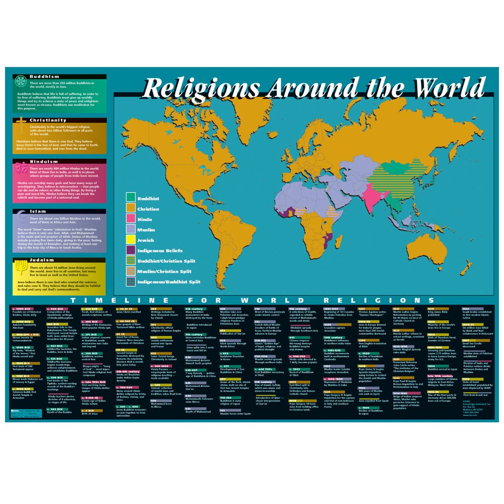 Religion Map Of Asia.Amazon Com Knowledge Unlimited Inc World Religions Map And