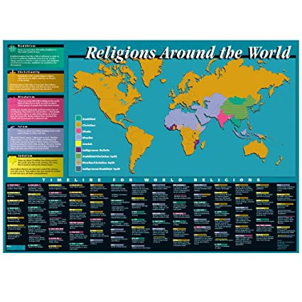 knowledge unlimited inc world religions map and timeline classroom poster