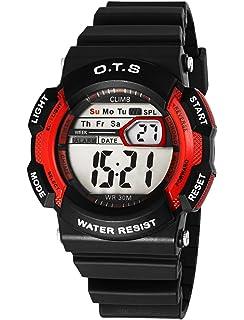 OTS - Reloj Digital Deportivo Impermeable Luminoso de Cuarzo con Alarma Cronómetro para Niños y Estudiantes…