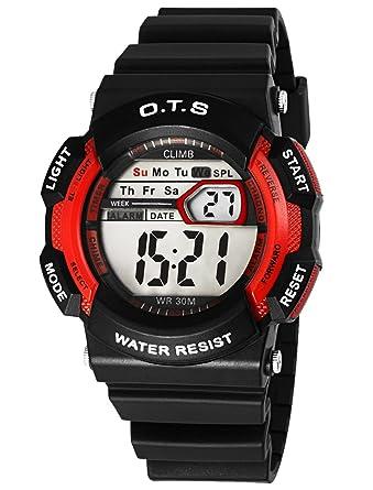 O.T.S Kid Watch 50M Waterproof Sport LED Alarm Stopwatch Digital Electronic Movement Wristwatch for Boys Girls