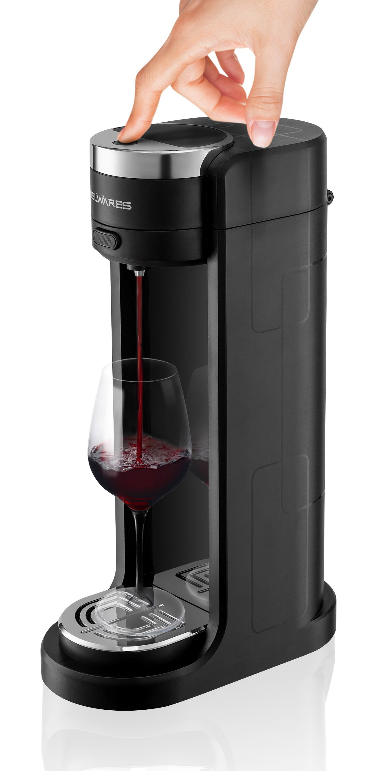 Electric Wine Aerator Dispenser Oxidizes, Decants, and Pours Red and White Wine, Battery Operated Decanter & Wine Aerator, Instant Luxury One Touch Control by Belwares