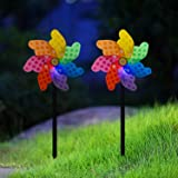 Garden Pinwheels Solar Light - 2 Pack, Solar Wind Spinners Stake Light - Landscape Path Outdoor Decor, Waterproof Solar Power