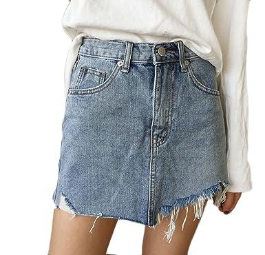 1951c2cd112 Amazon.com  M S W Women s Bodycon Cowboy Fashion A-line Sexy Slim Fit Mini  Skirts Skirts  Clothing