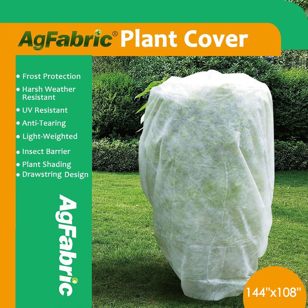 Agfabric Plant Cover Warm Worth Frost Blanket - 1.5 oz Fabric of 144''Hx108''W Shrub Jacket, Rectangle Plant Cover for Season Extension&Frost Protection by Agfabric