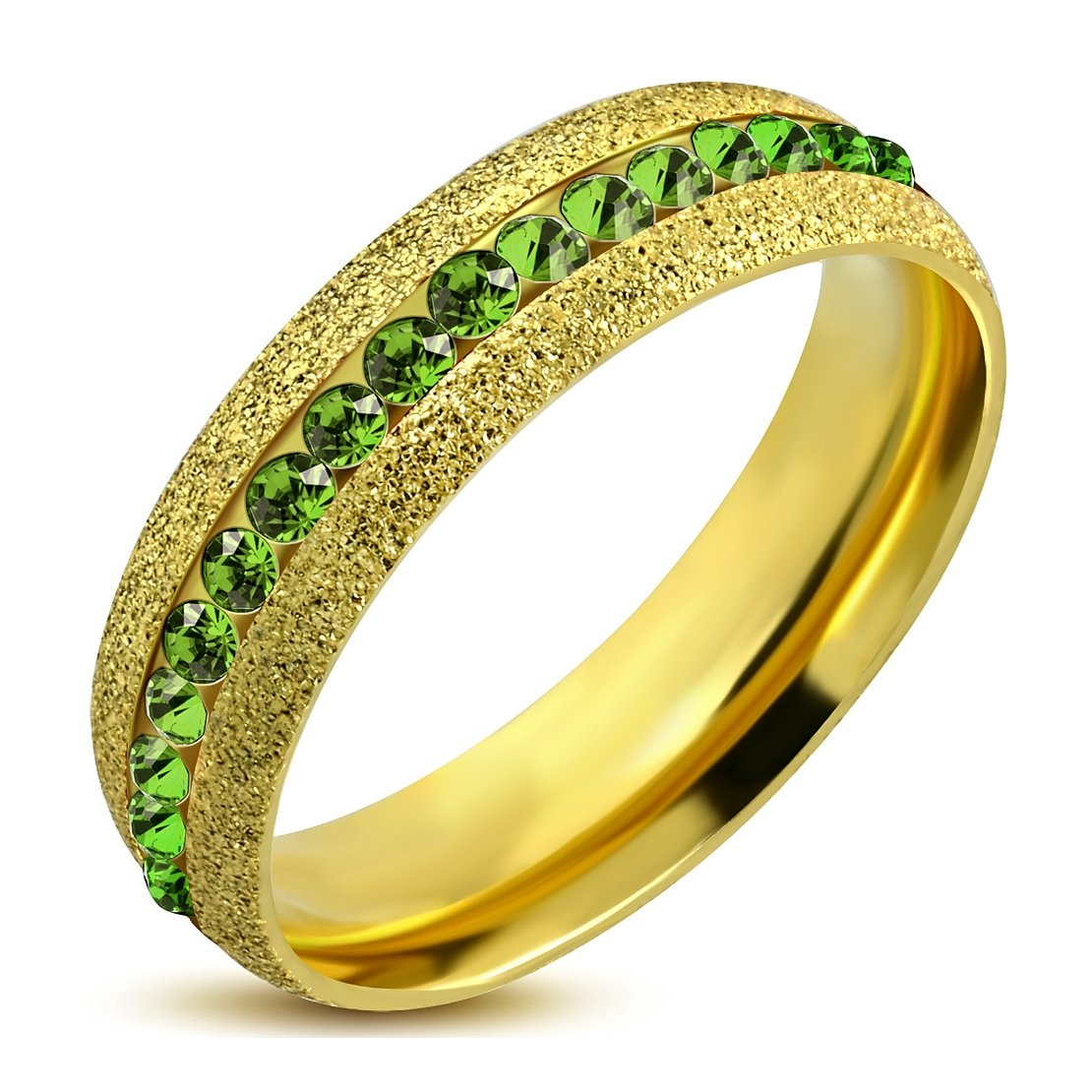 Gold Color Plated Stainless Steel Sandblasted Channel-Set Eternity Comfort Fit Band Ring with Peridot CZ