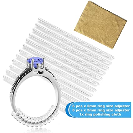 f34b8a02ccce7 Ring Size Adjuster for Loose Rings - Jewelry Guard, Spacer, Sizer, Fitter -  Spiral Silicone Tightener Set with Polishing Cloth - 12 Pack, 2 ...
