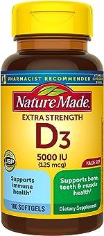 Extra Strength Vitamin D3 5000 IU (125 mcg), 180 Softgels Value